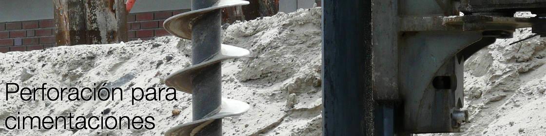 Perforación para pilotes de concreto armado, cimentación, cimentaciones, o cimientos profundos