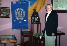 Любомир Винар під час відвідин Львівського дому Грушевських. 19 серпня 2002 р.