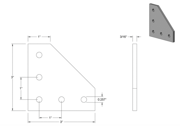 Technical Drawing of 90Degree Plate