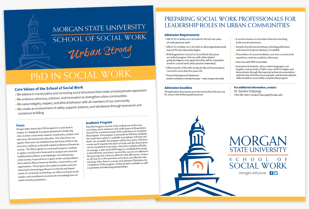 Morgan State University School of Social Work PhD in Social Work Flyer
