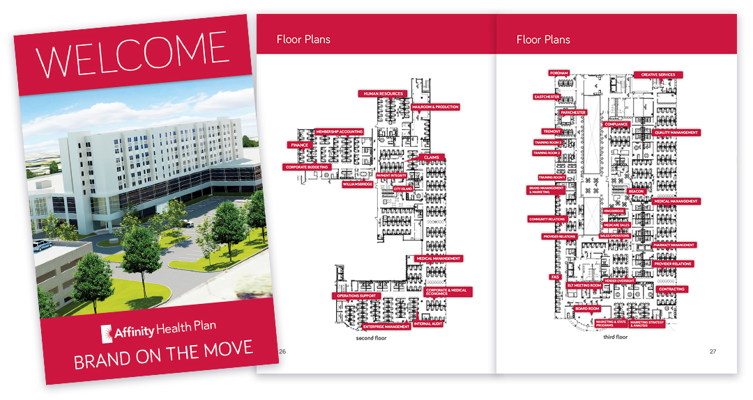 Affinity Health Plan - Welcome Booklet Cover, floor plans pages