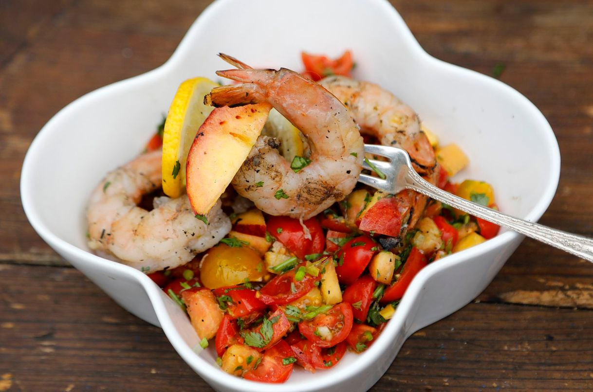 Grilled and Chilled Shrimp Cocktail with Tomato and Peach salsa