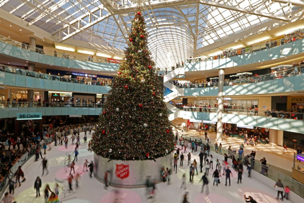 At the Galleria Dallas, shoppers can gaze at — and ice skate around — what may be America's tallest indoor Christmas tree.