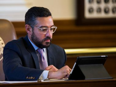 Representative Cesar Blanco sits at his desk on the second day of the 86th Texas legislature on Wednesday, January 9, 2019 at the Texas state Capitol, in Austin, Texas. Blanco authored House Bill 2059 which is implementing human trafficking awareness training for license holders in several healthcare related industries.