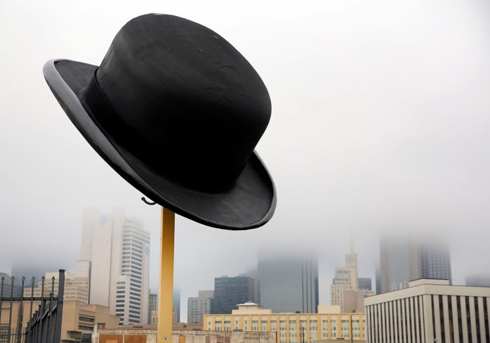 Look for the 10-foot-tall, 20-foot-wide, 2-ton bowler hat created by artist Keith Turman in the Cedars south of downtown.