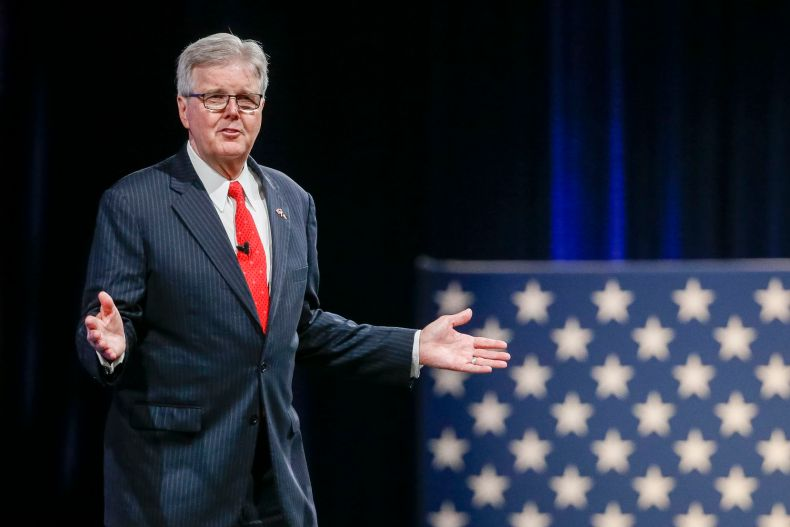 Lt. Gov. Dan Patrick gives remarks at the Conservative Political Action Conference on Friday, July 9, 2021, in Dallas. (Elias Valverde II/The Dallas Morning News)
