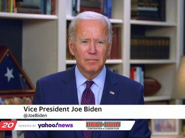 El exvicepresidente y candidato presidencial demócrata Joe Biden fue entrevistado por el reportero Alfredo Corchado de The Dallas Morning News a través de una video conferencia el 5 de agosto.