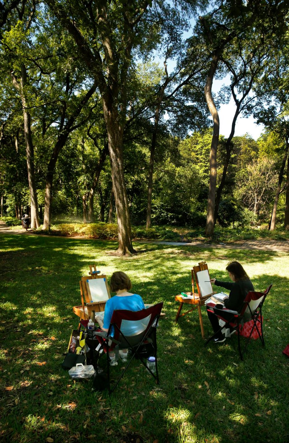 Girlfriends Joyce Mitchell (left) and Bobbi Banner paint watercolors of the woods lining Turtle Creek in Dallas' Lakeside Park, Wednesday, June 18, 2020.