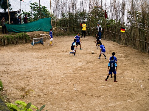 Football game in Aloobari village on the Tenzing Norgay road between Darjeeling and Ghum (Ghoom)