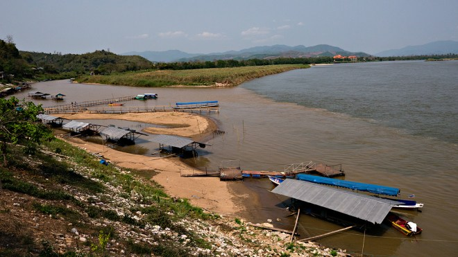 Myanmar, separated from Thailand by the muddy waters of Mae Sam Noi and from Laos by the Mekong
