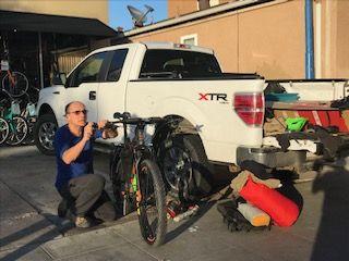 My truck, JD's bike.