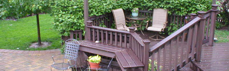 Trex Woodland Brown Stained Cedar Deck and Arbor - D M ... on D&M Outdoor Living Spaces id=87546