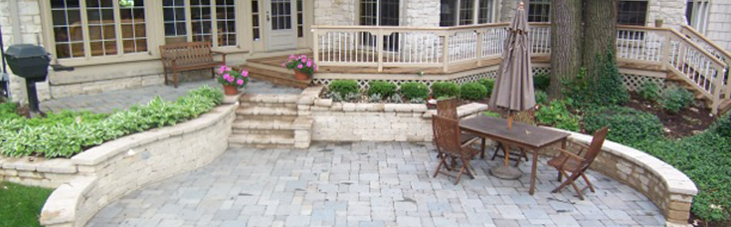 Heart Shaped Stone Patio with Wood Deck D M Outdoor Living ... on D&M Outdoor Living Spaces id=67532
