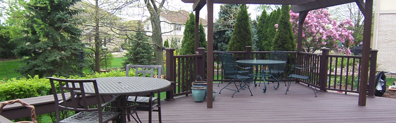 Trex Woodland Brown Wood Stained Deck - D M Outdoor Living ... on D&M Outdoor Living Spaces id=66847