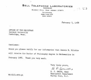 Bell Labs Second Inquiry Feb 7, 1968