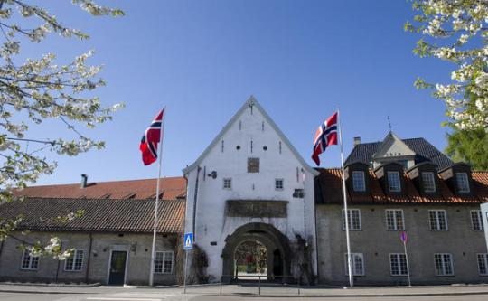 Hours  fees  directions   Norsk Folkemuseum Norsk Folkemuseum s main entrance with two Norwegian flags
