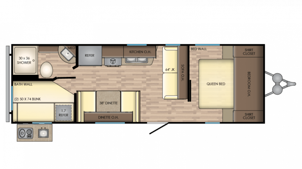 CrossRoads Zinger ZR252BH Travel Trailer Floor Plan
