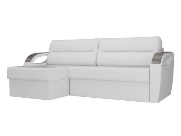 Угловой диван-кровать левый Форсайт, белый/экокожа Лига ...