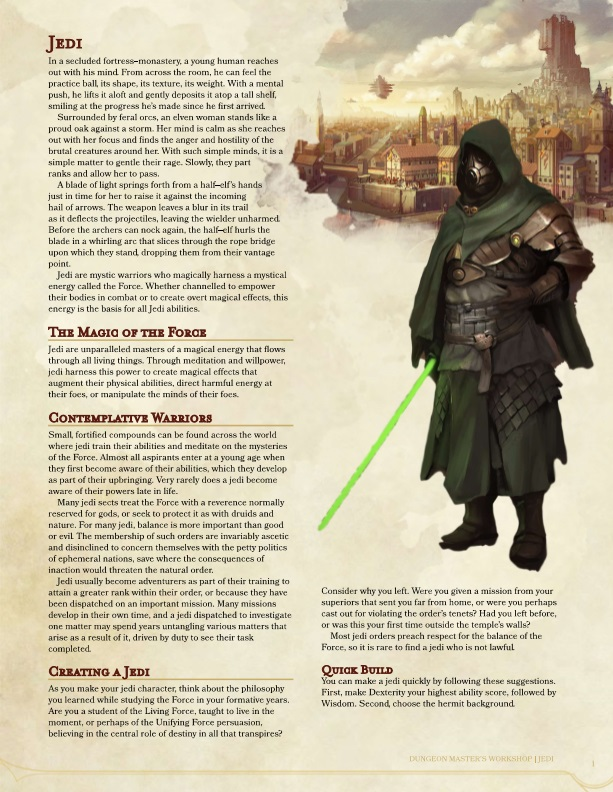 May The 4th Be With You: The Jedi (5E) – Dungeon Master's Workshop