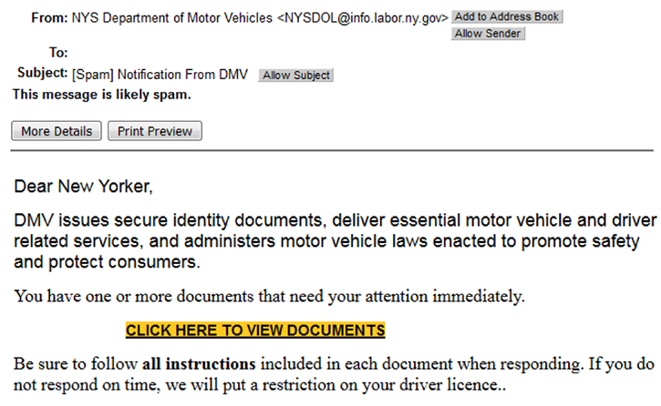 Donna baker published december 10, 2020 donna a. New York Dmv Phishing Examples