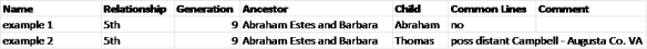 ancestry match spreadsheet