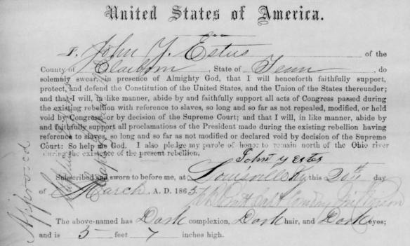 John Y. Estes allegiance