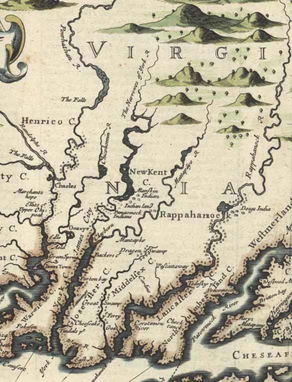 1676 Virginia Map New Kent