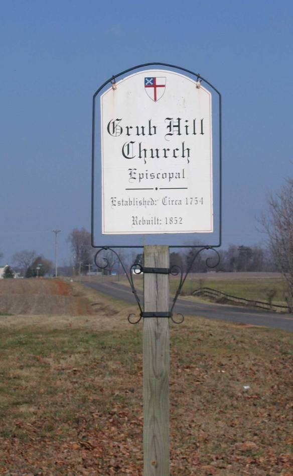 Combs Grub Hill Church sign