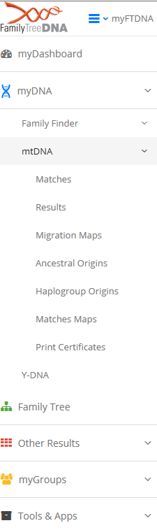 haplogroup and ancestral orgins tab