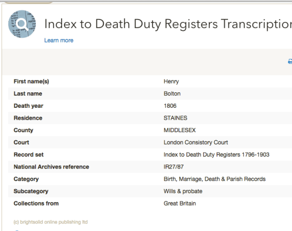 henry bolton death 1806