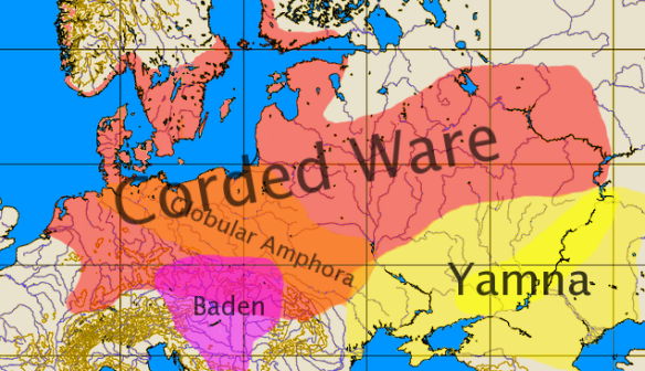 """Corded Ware culture"" by User:Dbachmann - Own work based based on Image:Europe 34 62 -12 54 blank map.png. Licensed under CC BY-SA 3.0 via Wikimedia Commons - https://commons.wikimedia.org/wiki/File:Corded_Ware_culture.png#/media/File:Corded_Ware_culture.png"
