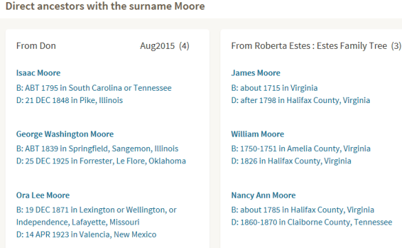 shared matches surname compare