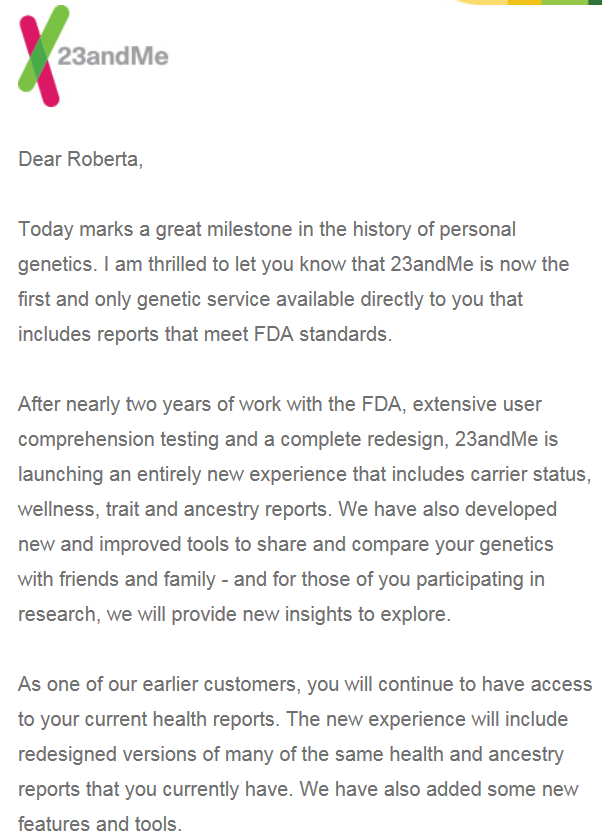 Fda Did Not Issue New Statement On >> 23andme To Get A Makeover After Agreement With Fda