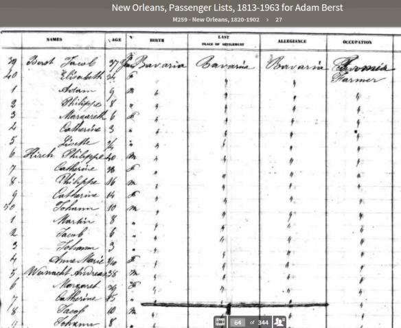 1848 Ship Manifest