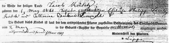 Jacob Kirsch birth