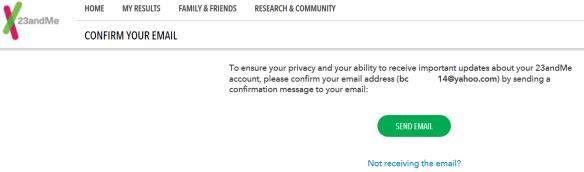 23andMe confirm e-mail