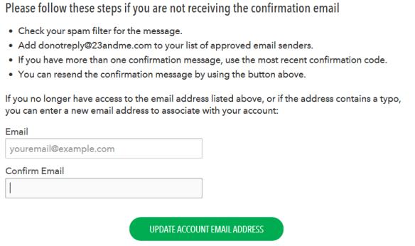 23andme reset e-mail