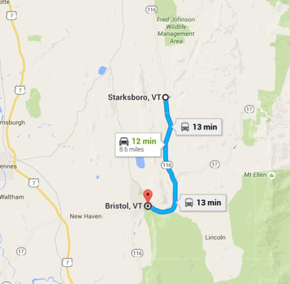 Bristol to Starksboro VT