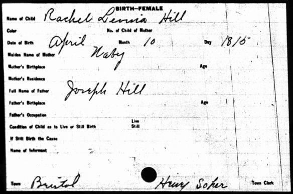 Rachel Hill birth