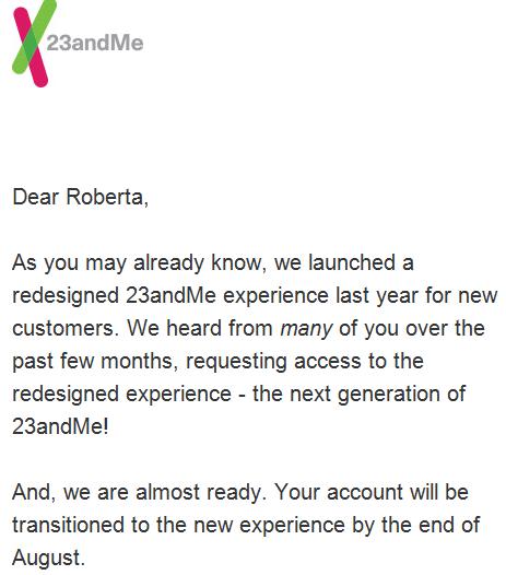 23andMe Transition