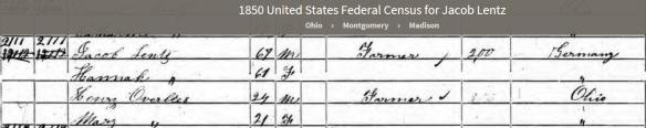 Lentz, Jacob 1850 census