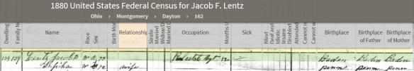 Lentz, Jacob 1880 census