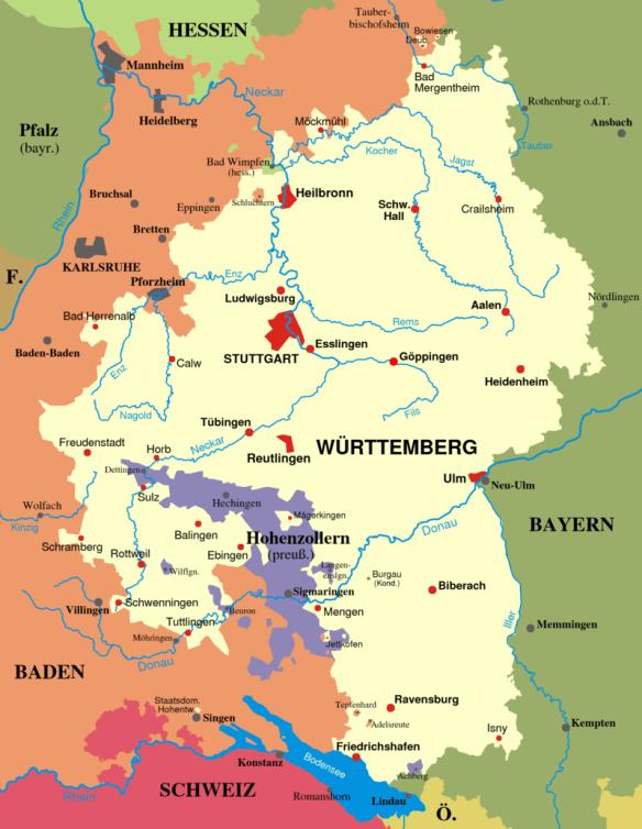 Lentz Wurttemberg map