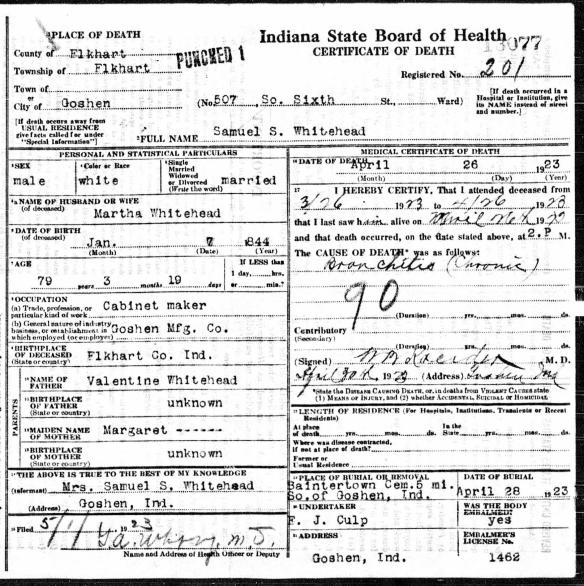 Margaret Lentz Samuel Whitehead death