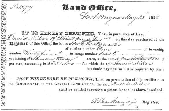 JDM David Miller land grant