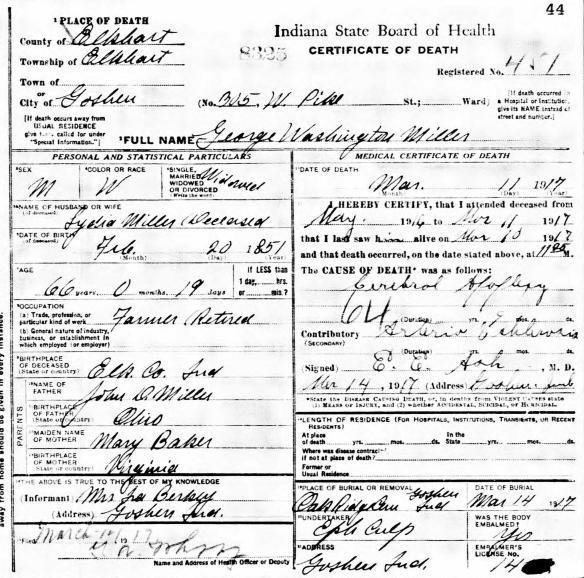 JDM George Washington Miller death cert
