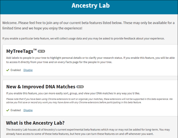 ThruLines Ancestrylab enable