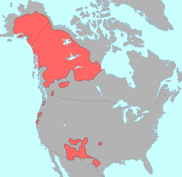 Athabascan language map