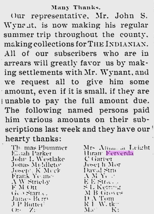 Hiram Ferverda 1897 newspaper.png