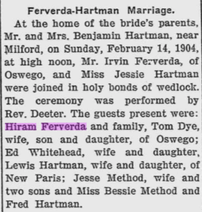 Hiram Ferverda 1904 Irvin marries.png